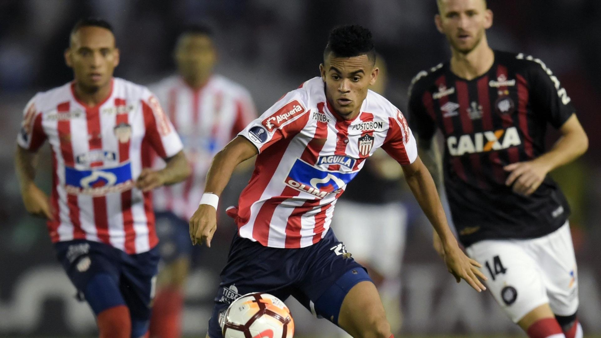 Díaz, durante jogo entre Junior de Barranquilla e Atlético-PR