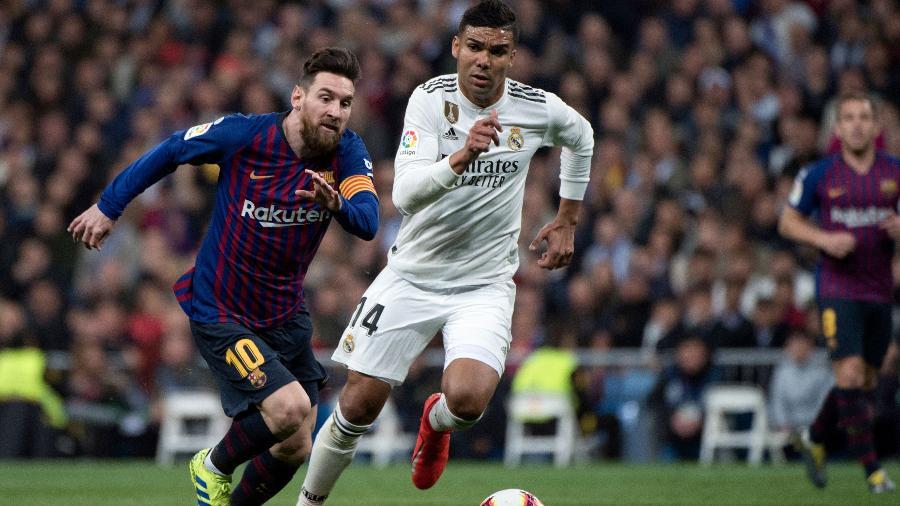 Casemiro marca Messi no clássico entre Real Madrid e Barcelona - Curto De La Torre/AFP
