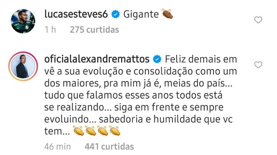 Alexandre Mattos coloca Raphael Veiga entre os melhores meias do país - Reprodução/Instagram