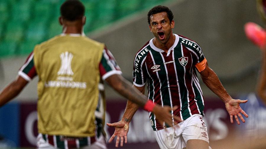 Fred comemora o gol de empate do Fluminense contra o River Plate pela Libertadores - Lucas Mercon/Fluminense