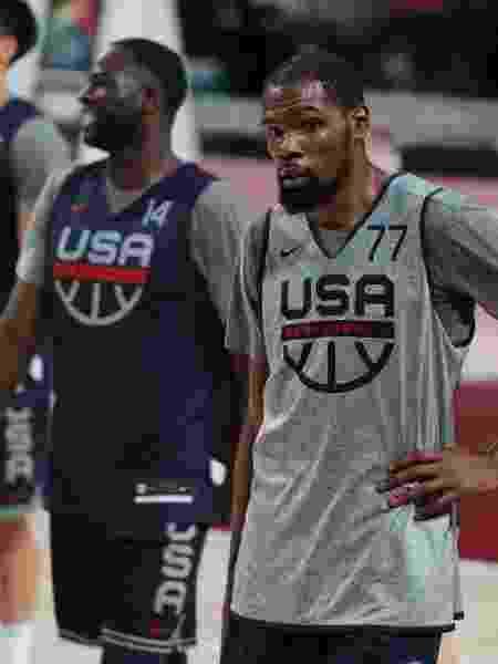 Kevin Durant em ação em treino do basquete dos EUA antes da estreia na Tóquio-2020 - Gregory Shamus/Getty Images - Gregory Shamus/Getty Images