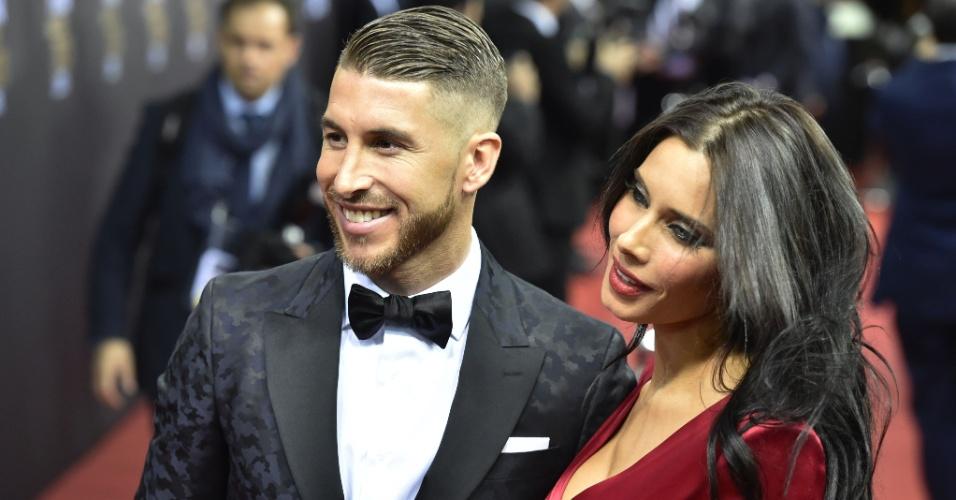 Zagueiro Sergio Ramos foi à cerimônia acomapanhado da esposa Pilar Rubio