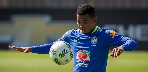 O atacante Gabriel Jesus durante jogo do Palmeiras