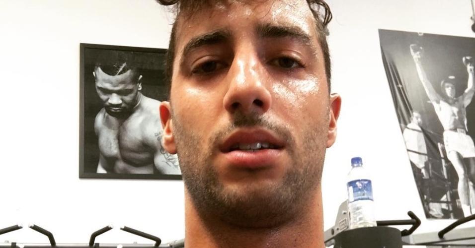 Daniel Ricciardo após treino de boxe na preparação física para a temporada 2017