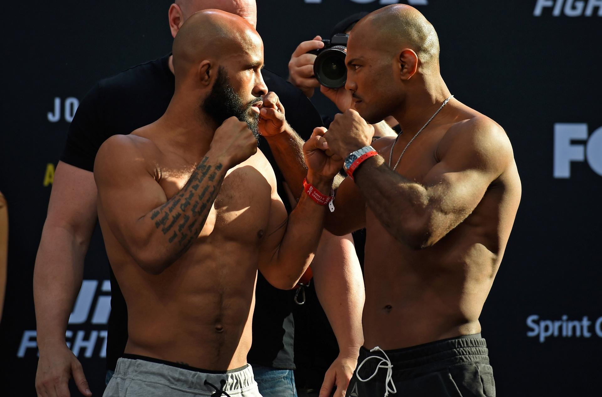 Demetrious Johnson e Wilson Reis se encaram antes de disputa de cinturão dos moscas do UFC