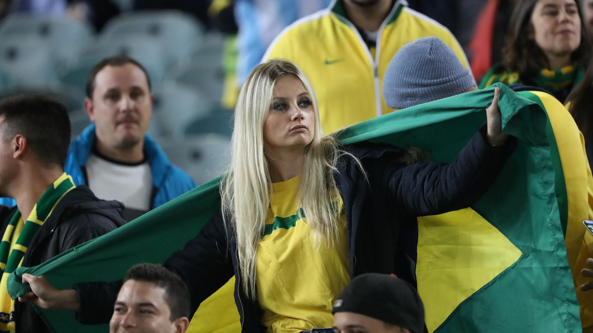 Torcida da seleção brasileira antes de amistoso contra a Argentina