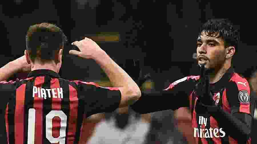 Paquetá e Piatek comemoram gol do Milan - Marco BERTORELLO / AFP