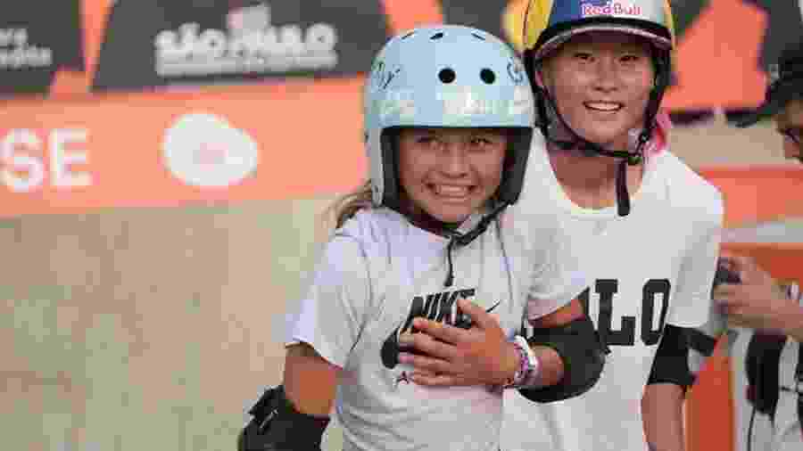 Sky Brown, de 11 anos, e Sakura Yosozumi, de 17 anos, no Mundial de skate park em São Paulo - Sky Brown, de 11 anos, e Sakura Yosozumi, de 17 anos, no Mundial de skate park em São Paulo