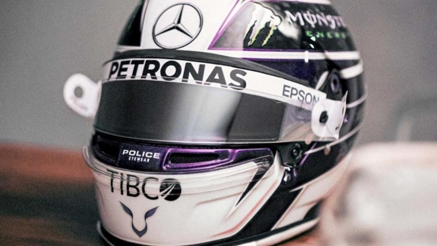 Capacete roxo de Hamilton para a temporada 2020 da Fórmula 1  - Reprodução/Instagram