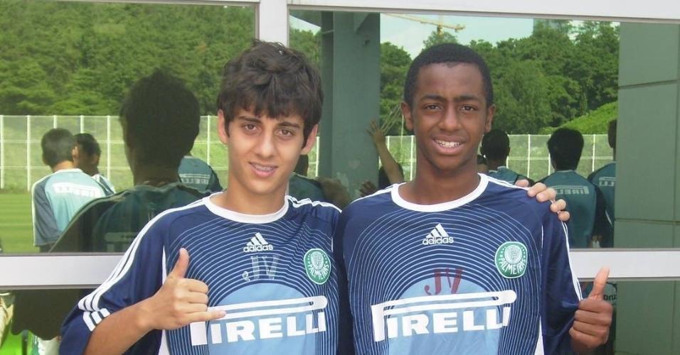Fabio Brazza e seu companheiro Anderson 'Tripa' quando jogavam nas categorias de base do Palmeiras