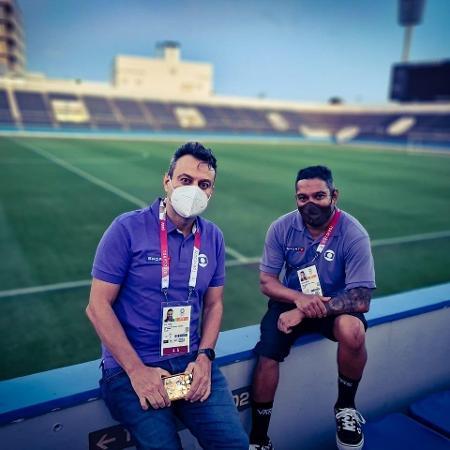 Eric Faria e Marcelo Bastos durante o primeiro treino da seleção brasileira olímpica no Japão - Divulgação/TV Globo