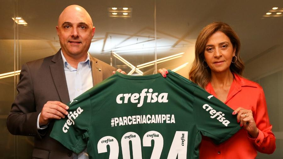 Palmeiras renova com patrocinador máster até 2024; na foto, o presidente Mauricio Galiotte e Leila Pereira - Fabio Menotti