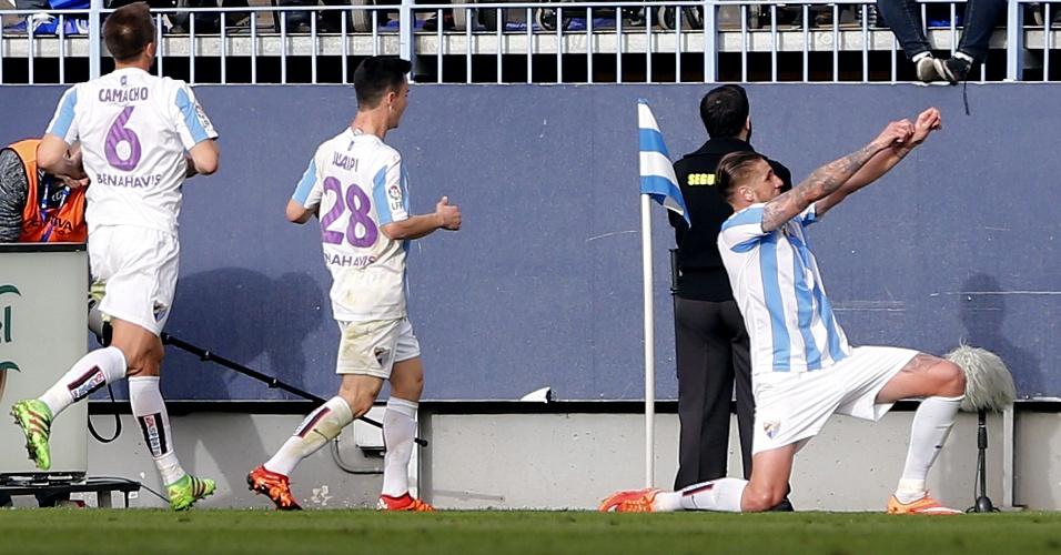 Raul Albentosa comemora gol de empate do Málaga diante do Real Madrid