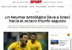 """Mídia internacional destaca """"Neymar antológico"""" e o """"fator Tite"""" na seleção - Reprodução/Sport"""