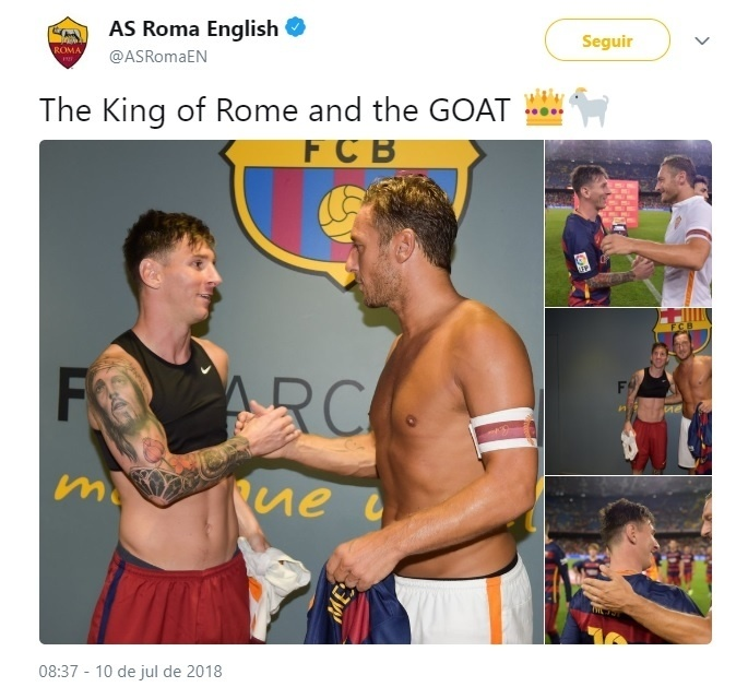 Roma provoca Juventus com publicação de imagens de Totti e Messi