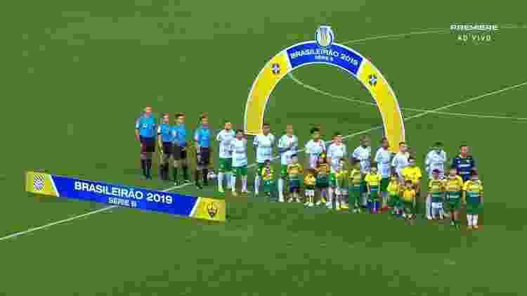 Jogadores do Figueirense não sobem a campo para o jogo contra o Cuiabá - Reprodução