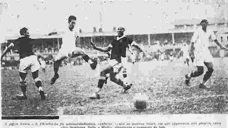 Vasco e São Cristóvão em duelo pelo Campeonato Carioca de 1934 - Reprodução / arquivo Henrique Hubner - Reprodução / arquivo Henrique Hubner