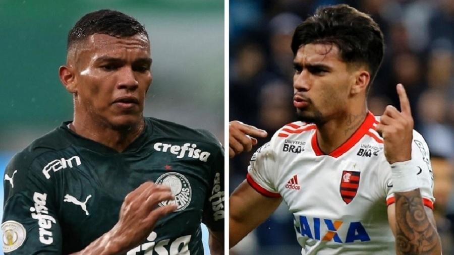 Palmeirense não gostou da provocação de ex-Flamengo e respondeu usando número de troféus conquistados na carreira - Cesar Greco/Palmeiras e Daniel Vorley/AGIF - Montagem UOL