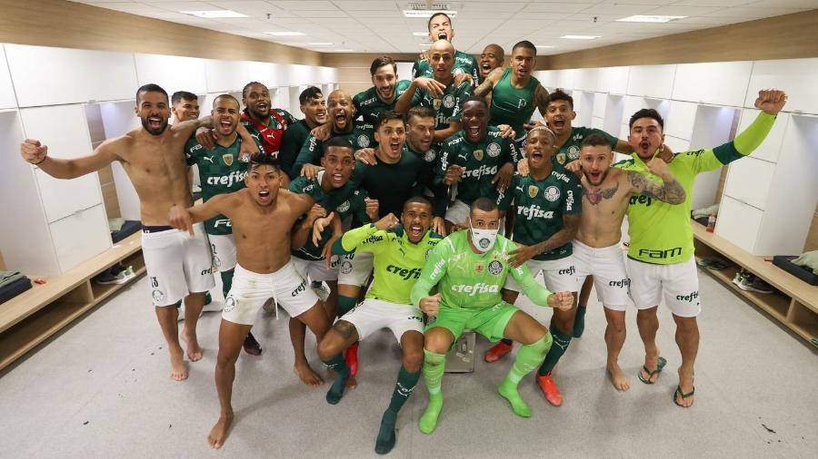 Os jogadores do Palmeiras comemoram a classificação para a final após jogo contra o Corinthians, pelo Campeonato Paulista de 2021; - Cesar Greco/Palmeiras