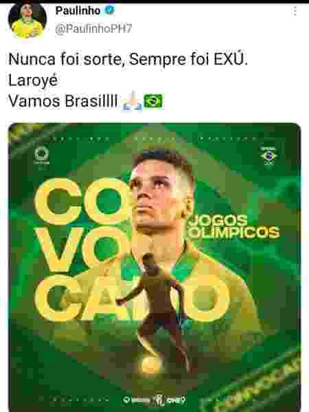 Post do jogador Paulinho no Twitter exalta Exu - Reprodução - Reprodução