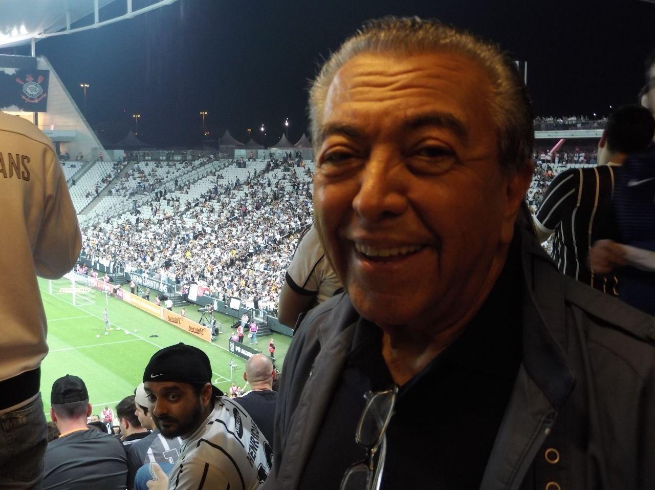 Maurício de Sousa está na Arena Corinthians para curtir a partida