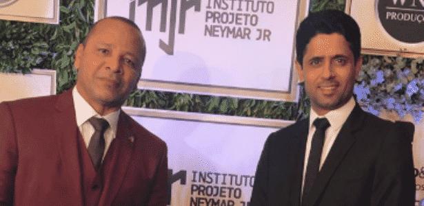 No leilão do Instituto Neymar Jr., Nasser Al-Khelaifi posa para foto ao lado de Neymar pai - reprodução/Instagram - reprodução/Instagram