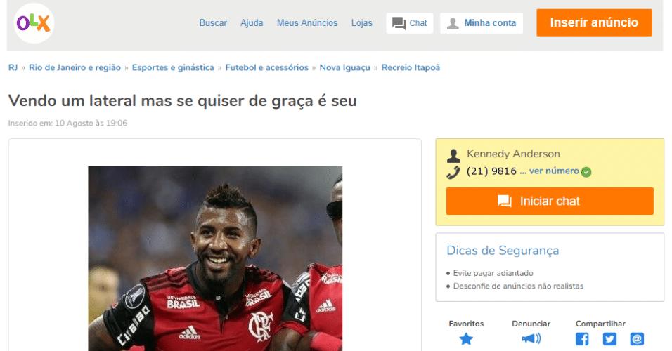 Rodinei é 'colocado à venda' por torcedor em site