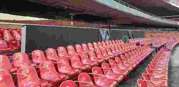 Placares eletrônicos foram retirados e estão no primeiro anel. Estádio ganhará telões - Arquivo Pessoal/Julio Prieto