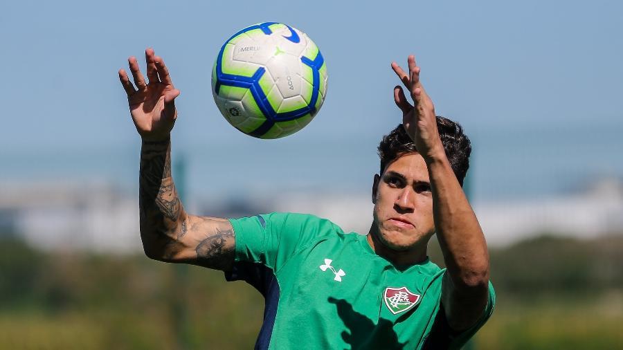 Atacante Pedro durante treino do Fluminense: jogador vem tendo boa sequência no clube - Lucas Merçon/Fluminense