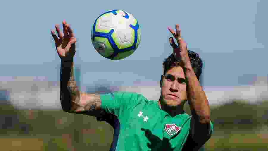 Atacante Pedro durante treino do Fluminense: jogador teve lesão constatada - Lucas Merçon/Fluminense