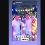 Bella Falconi posa ao lado de Kaká e Carol Dias em festa de casamento do ex-jogador - Reprodução/Instagram Carol Dias