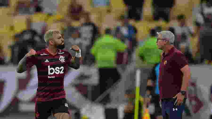Gabigol comemora gol do Flamengo contra o Fluminense na semifinal da Taça Guanabara - Thiago Ribeiro/AGIF