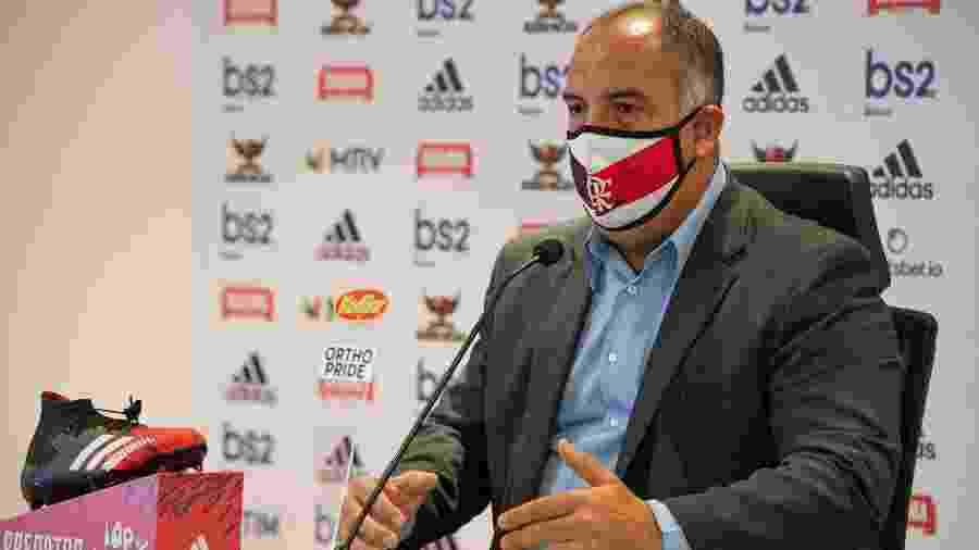Marcos Braz, vice de Futebol do Flamengo, em entrevista coletiva - Alexandre Vidal / Flamengo