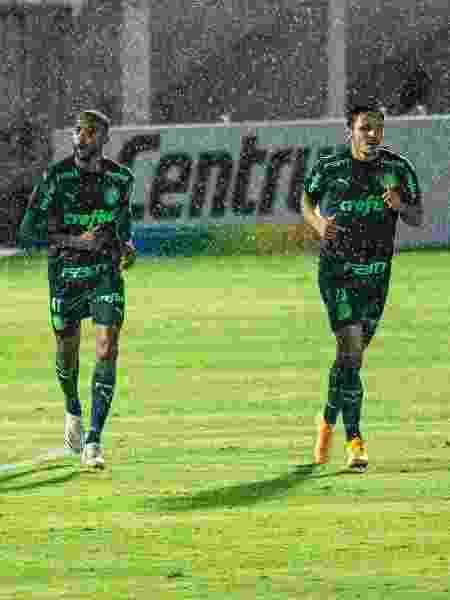 Wesley e Raphael Veiga comemoram gol do Palmeiras contra o Red Bull Bragantino - Diogo Reis/AGIF