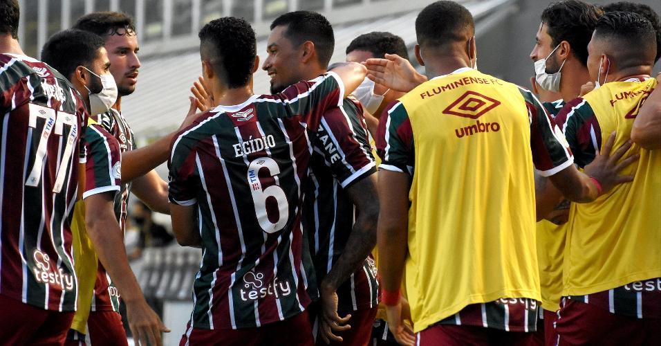 Jogadores do Fluminense comemoram gol marcado por Lucca, contra o Santos