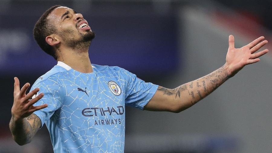 Gabriel Jesus comemora o segundo gol do City na Liga dos Campeões - FERENC ISZA/AFP