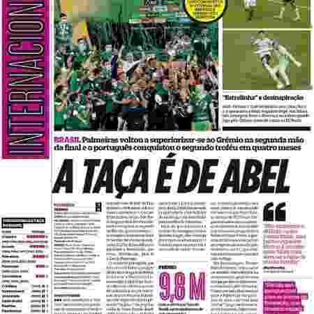 Diário O Jogo, de Portugal, dedicou página ao título do Palmeiras - Reprodução/O Jogo - Reprodução/O Jogo