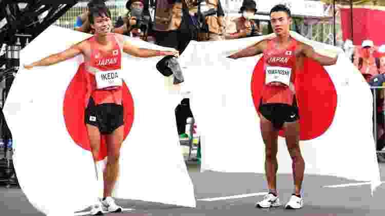 Yamanishi e Ikeda fizeram dobradinha japonesa no pódio da marcha atlética 20km nas Olimpíadas de Tóquio - Lintao Zhang/Getty Images - Lintao Zhang/Getty Images
