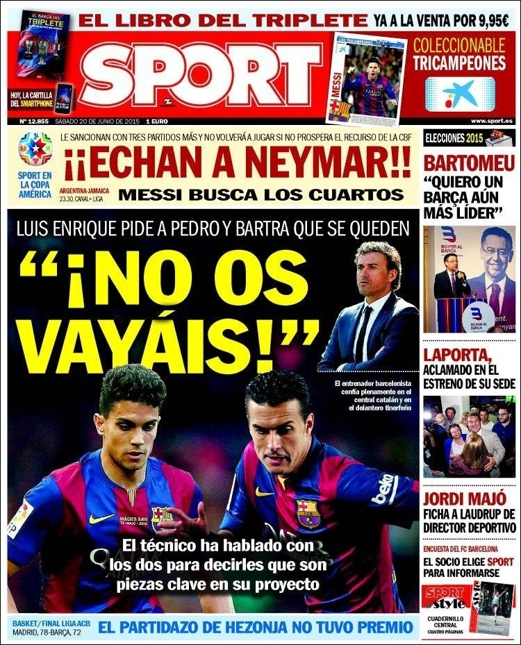 Jornal Sport, de Barcelona, diz que Neymar não volta a jogar Copa América se a CBF não tiver sucesso em apelo