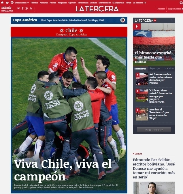 O La Tercera, do Chile, também comemorou o título chileno