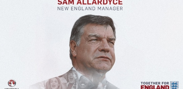 Sam Allardyce assumirá como novo técnico da seleção inglesa