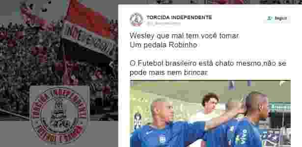 Mensagem da torcida Independente em rede social defende agressão ao jogador Wesley - Reprodução - Reprodução