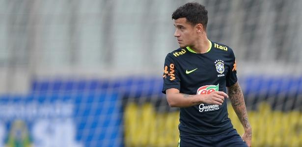 Philippe Coutinho durante treino da seleção brasileira no CT do Grêmio - Pedro Martins/MoWA Press