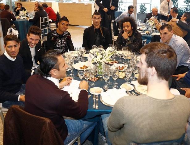 Jantar de Natal reuniu os craques do futebol e do basquete do Real Madrid