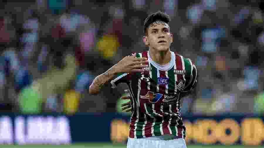 Pedro comemora um de seus 31 gols pelo Fluminense  - Thiago Ribeiro/AGIF