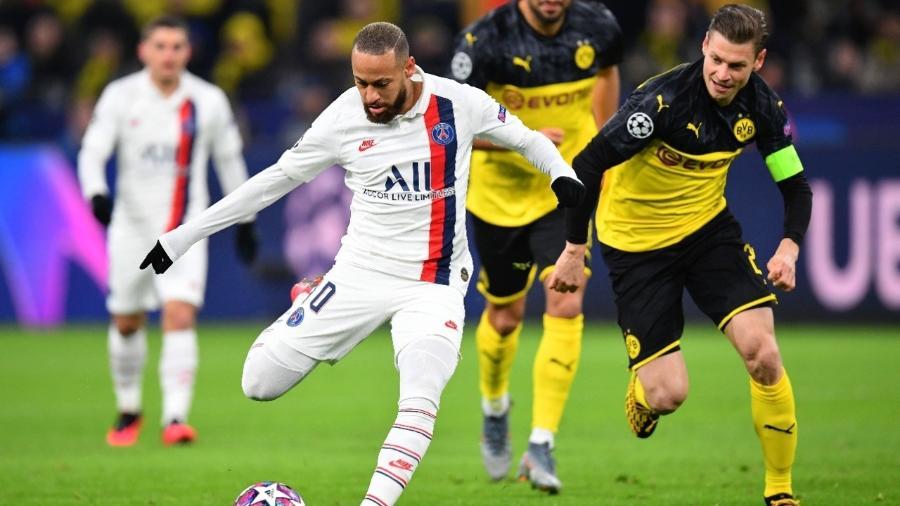 Neymar, durante o confronto em que o PSG eliminou o Borussia Dortmund da Champions - Stuart Franklin/Equipe