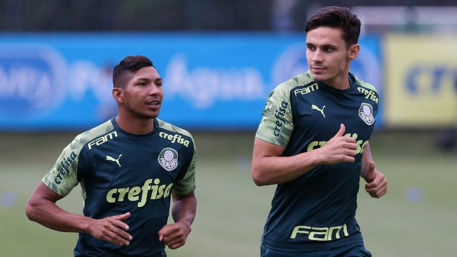 Rony treina com companheiros de Palmeiras na Academia em atividade realizada em fevereiro - Divulgação/SE Palmeiras