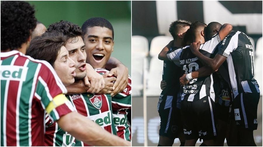 Jogadores do Fluminense celebram gol contra o Coritiba, em 2009; Jogadores do Botafogo comemoram gol contra o Santos em 2020 - Fotos de photocamera e Victor Silva / Botafogo
