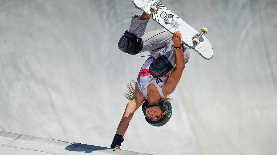 Sky Brown faz manobra durante a final das Olimpíadas Tóquio-2020 - Ulrik Pedersen/NurPhoto via Getty Images