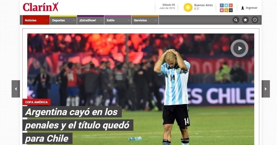 Clarín não fez nenhuma crítica em sua capa